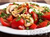 Салата с чери домати, гъби и кедрови ядки